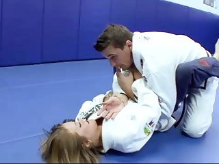 Ultra-Kinky Karate college girls smashes yon her trainer after a superb karate set-to
