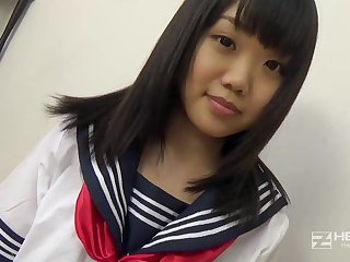 Asian honey, Natsuno Himawari is wearing her college uniform for ages c in depth getting smashed and fellating prick