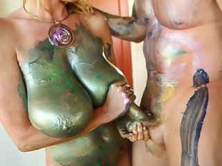 Kelly Madison is a chick covered in paint get-up-and-go a stiff boner