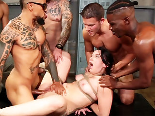 Caper brunette enjoys her very first interracial gang-bang