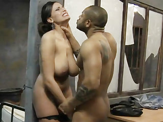 Big-dicked black prisoner fucks a kinky white lawyer