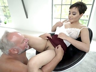 Young Slovak babe Yasmeena Ali is having dirty sex with one old fart