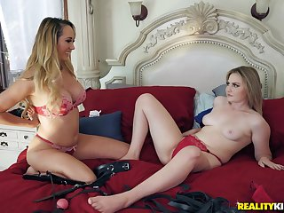 Blindfolded Brett Rossi plus Britney Light take turns going to bed one guy