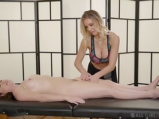 Blonde massage handsomeness finger bangs their way oiled up buyer