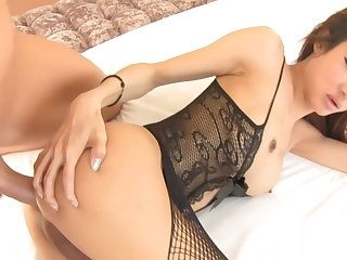 Hot big jugs ladyboy drilled in her ass