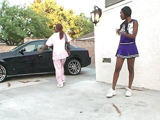 stunning Nina Devon enjoys wild threesome close to their way black friends