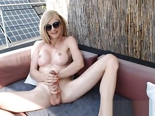 breasty tranny Oiled Up And Strokes Her penis
