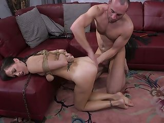Red faced submissive bondage bitch Alana Cruise deserves some hard anal