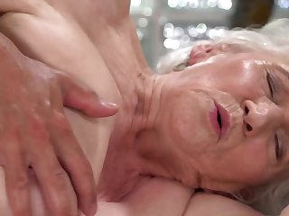 A nasty old granny is fucked on the band together by a dude really everlasting