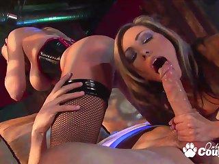 Brunette Austin Kincaid and Lela Eminence sharing a massive cock