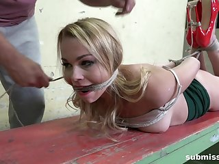Submissive blonde, brutal coupled with merciless BDSM sex