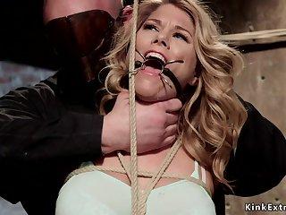Gagged blondie gets big fun bags tied