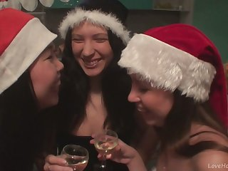 Wild Christmas Platoon With Three Skinny Sluts