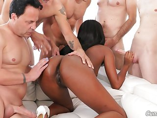Horny sting legged ebony cutie Ashley Aleigh blows cocks be expeditious for facial cumshot