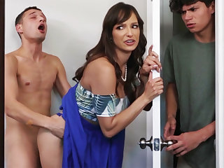 Busty MILF seduces her stepson's shy team up