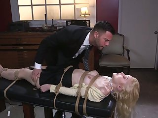 Sexy blonde Chloe Cherry is tied up and fucked in her deep throat and wringing wet pussy