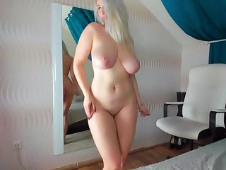 Blonde girlfriend loves dancing coupled with playning around