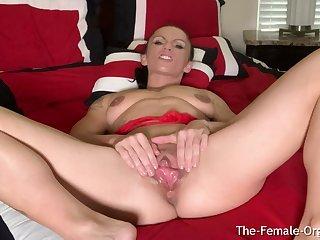 MILF Rubs Pompously Clit and Big Lips Shrewd Clenching Orgasm
