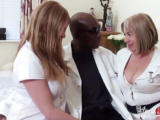 Duo fat head nurses bang one black man and decompose his cum greedily