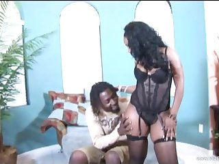 Ebony pornstar in undergarments has her pussy banged by a wean away from