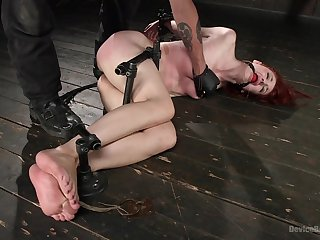 Filial redhead ends up spanked merciless and fucked in the nuisance
