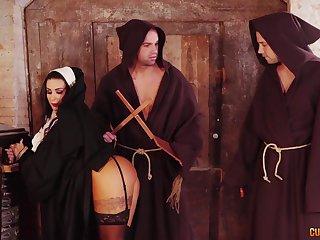 Threesome fucking around a sexy nun ends around a double facial