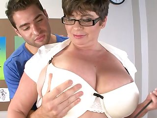 Handsome dude got his dick tuged added to pleasured by fat Kriss Kelly